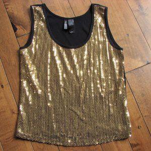 Bisou Bisou Black Gold Sparkle Sequin Knit Tank